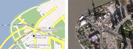 卫星图层和地图图层同一位置的对比